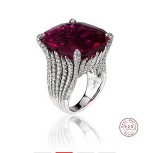 Garnet AAA Cubic Zirconia in Sterling Silver Ring